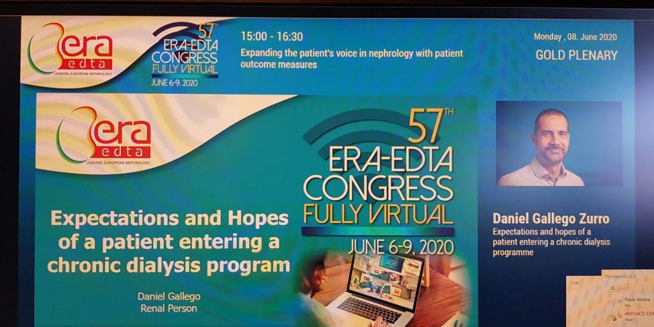 Daniel Gallego expone su punto de vista como paciente en el Congreso Europeo de Nefrología