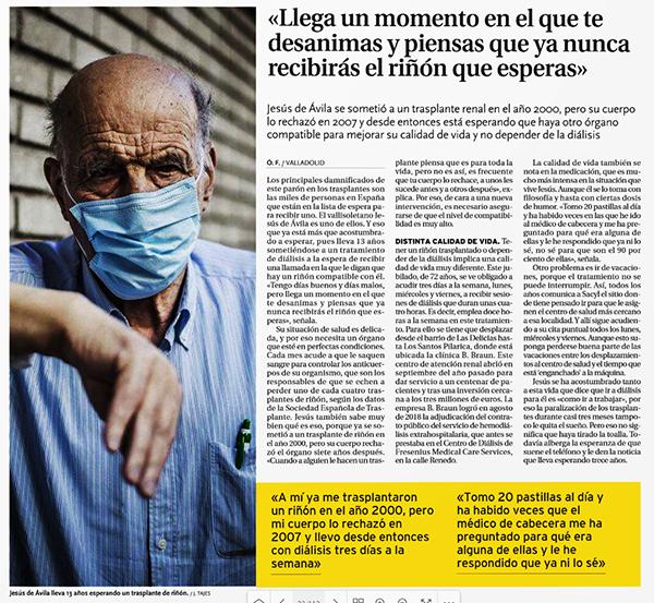 Entrevista a ALCER Valladolid en el diario de Valladolid